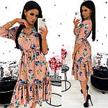 Женское удлиненное нежное платье в цветочный принт из софта (Норма), фото 2