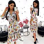 Женское удлиненное нежное платье в цветочный принт из софта (Норма), фото 3