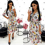 Женское удлиненное нежное платье в цветочный принт из софта (Норма), фото 4