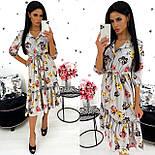 Жіноче видовжене ніжне плаття в квітковий принт з софта (Норма), фото 4