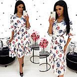 Женское удлиненное нежное платье в цветочный принт из софта (Норма), фото 5