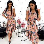 Женское удлиненное нежное платье в цветочный принт из софта (Норма), фото 6
