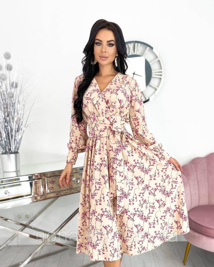 Жіноче ніжне видовжене сукню в квітковий принт з софта (Норма)