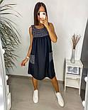 Жіночий літній сарафан з софта в смужку з кишенями (Норма і батал), фото 8