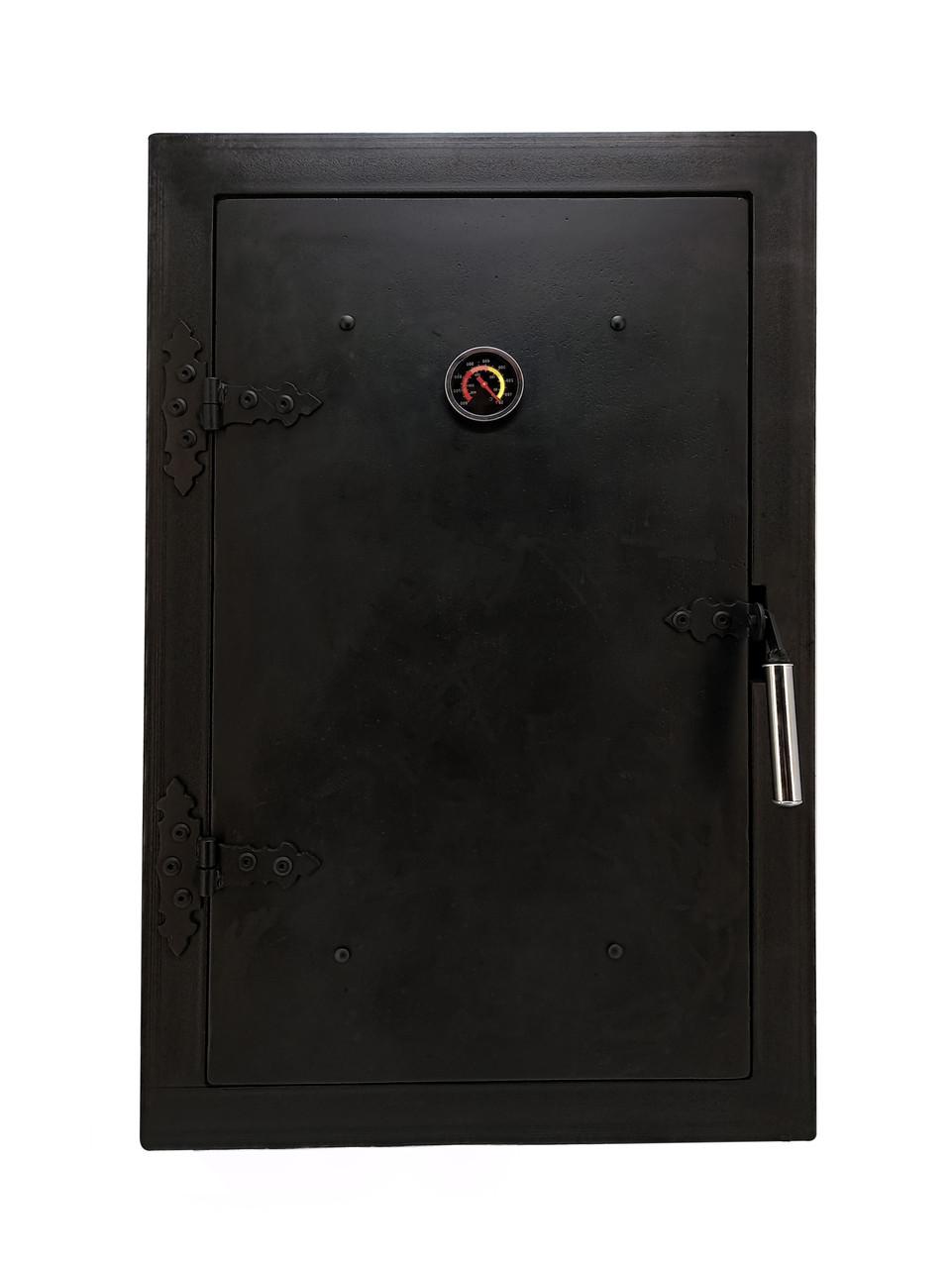 Дверца для коптилки чугунная с термометром, печная дверка в коптильню 102811