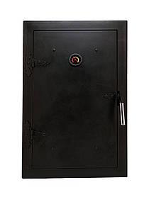 Дверцята для гасники чавунна з термометром, дверка пічна в коптильню 102811