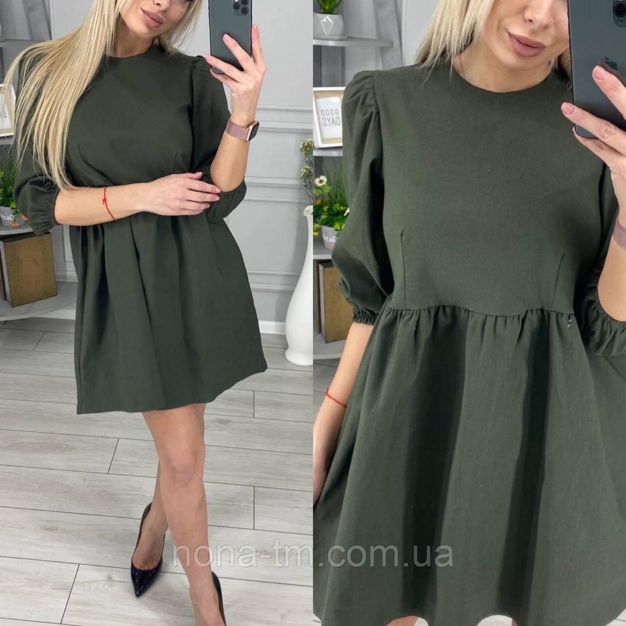Женское легкое джинсовое платье с рукавами-фонарик три четверти (Норма)