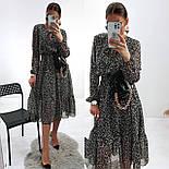 Жіноче ніжна шифонова сукня в квітковий принт довжини міді (Норма), фото 3