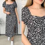 Женское нежное приталенное платье с разрезом в цветочный принт (Норма), фото 2