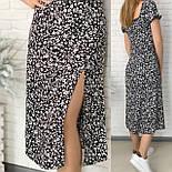 Женское нежное приталенное платье с разрезом в цветочный принт (Норма), фото 8