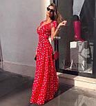 Модне жіноче літнє плаття на запах в горох (Норма), фото 3