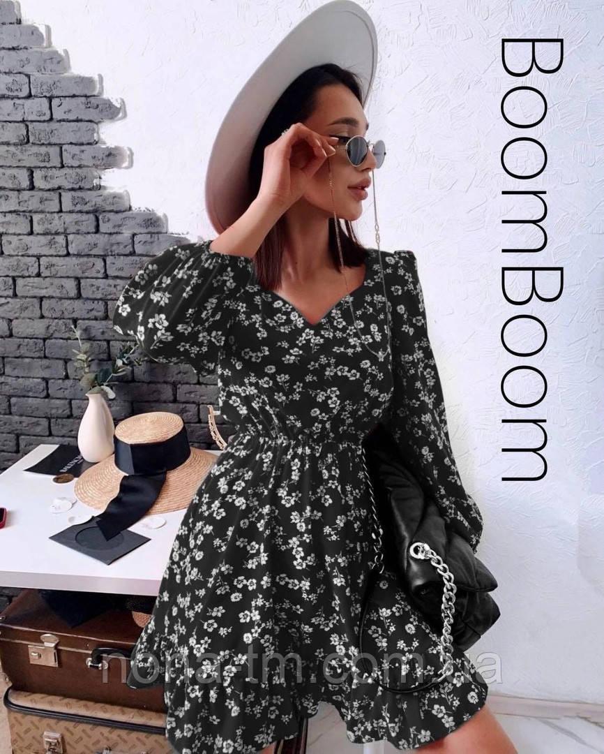 Нежное женское платье в цветочный принт из софта (Норма)