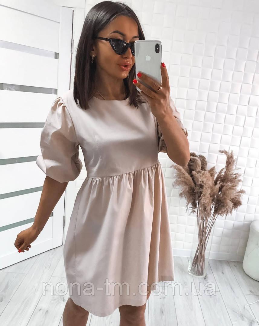 Модне жіноче вільне плаття з котону з об'ємними рукавами (Норма)