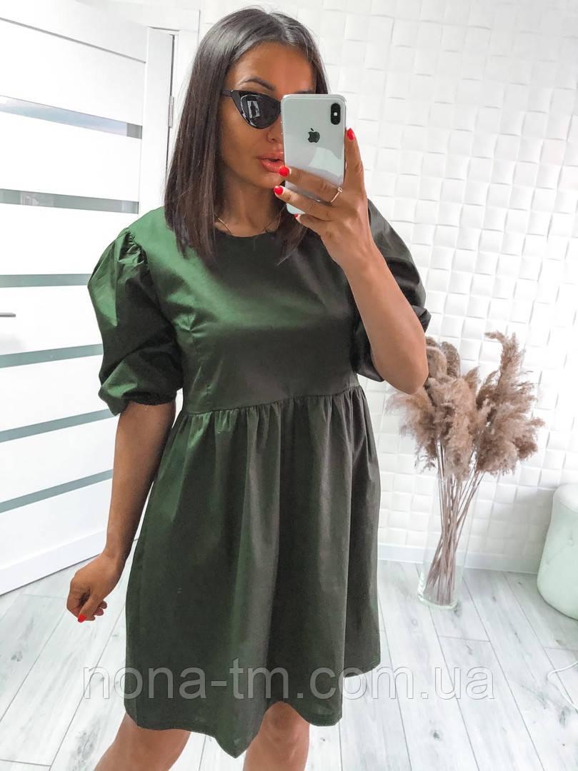 Женское модное свободное платье из коттона с объемными рукавами (Норма)