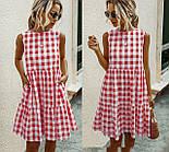 Женское нежное летнее платье свободного кроя с двумя воланами в клетку  (Норма), фото 2