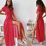 Жіноче літнє плаття в горох довжини міді з розрізом (Норма і батал), фото 6