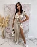 Женское летнее платье в горох длины миди с разрезом (Норма и батал), фото 7