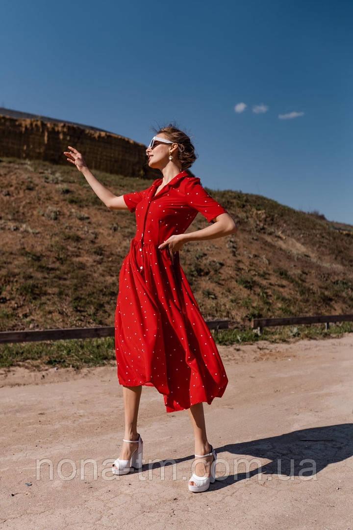 Женское летнее удлиненное платье из софта в горох (Норма)