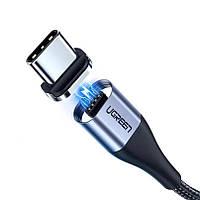 Магнитный кабель USB Type-C 3A для быстрой зарядки шнур юсб тайп-С | нейлон + металл | Ugreen 1м (черный)