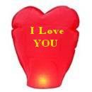 Небесные фонарики желаний сердце красное большое с надписью 105см