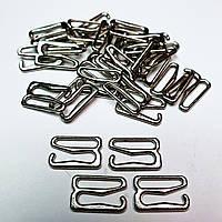 Крючок для бюстгальтера, для бретелей, регуляторы 15мм металл ( серебристый никель ) (20 шт/уп).