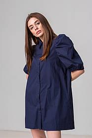 Стильная короткая однотонная рубашка-платье с рукавом-фонарик свободного кроя в 2 цветах в одном размере S-XL.