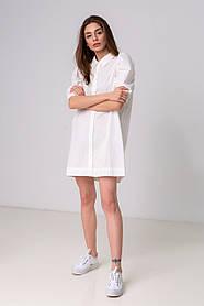 Стильная короткая однотонная рубашка-платье с рукавом-фонарик свободного кроя в 3 цветах в одном размере S-XL. белый