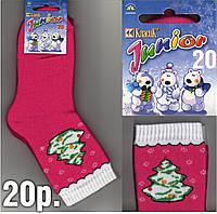 """Новогодние детские носки с махрой внутри тёплые """"Класик"""" Украина  тёмно розовые 20 р."""