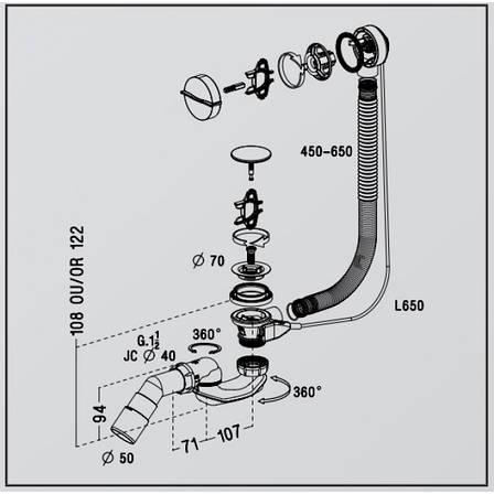 Злив-перелив для ванни з сифоном, довжина патрубка переливу 650 мм, Nicoll EB07S-EASYBAIN, фото 2