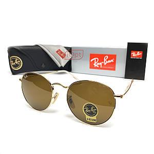 Солнцезащитные Очки R-B Round Metal 3448 Минеральное Стекло Золото Коричневый