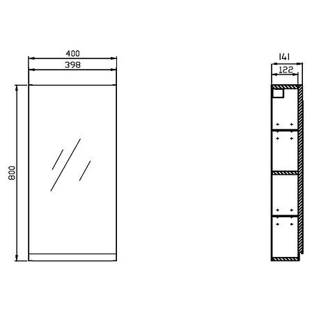 Шкафчик зеркальный Cersanit Moduo 40 (S590-031) серый, фото 2