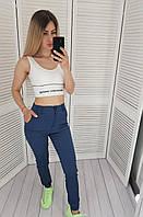 Стильные стрейчевые брюки на резинке арт. 1009, цвет синий джинс