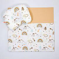 """Летний комплект в коляску BabySoon """"Мечта"""" одеяло 65 х 75 см подушка 22 х 26 см цвет бежевый, фото 1"""
