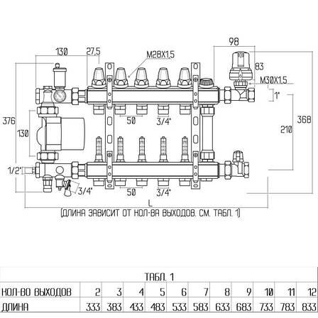 """Колекторна група Icma 1"""" 12 виходів, з витратоміром №A2K013, фото 2"""