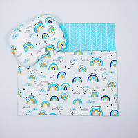 "Летний комплект в коляску BabySoon ""Радуги"" одеяло 65 х 75 см подушка 22 х 26 см цвет бирюзовый, фото 1"
