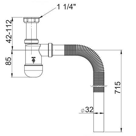Сифон для умывальника Basic телескопический, Prevex AB PR3-B4NF3-001, фото 2