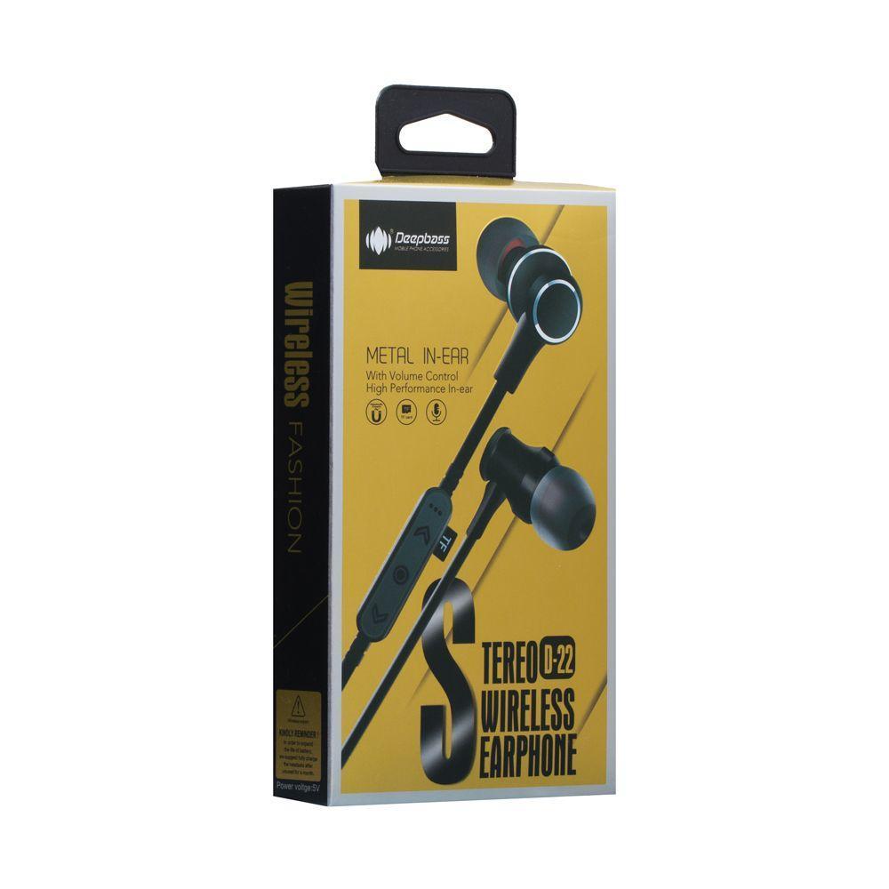 Бездротова гарнітура DeepBass D-22 Bluetooth стерео навушники Чорні