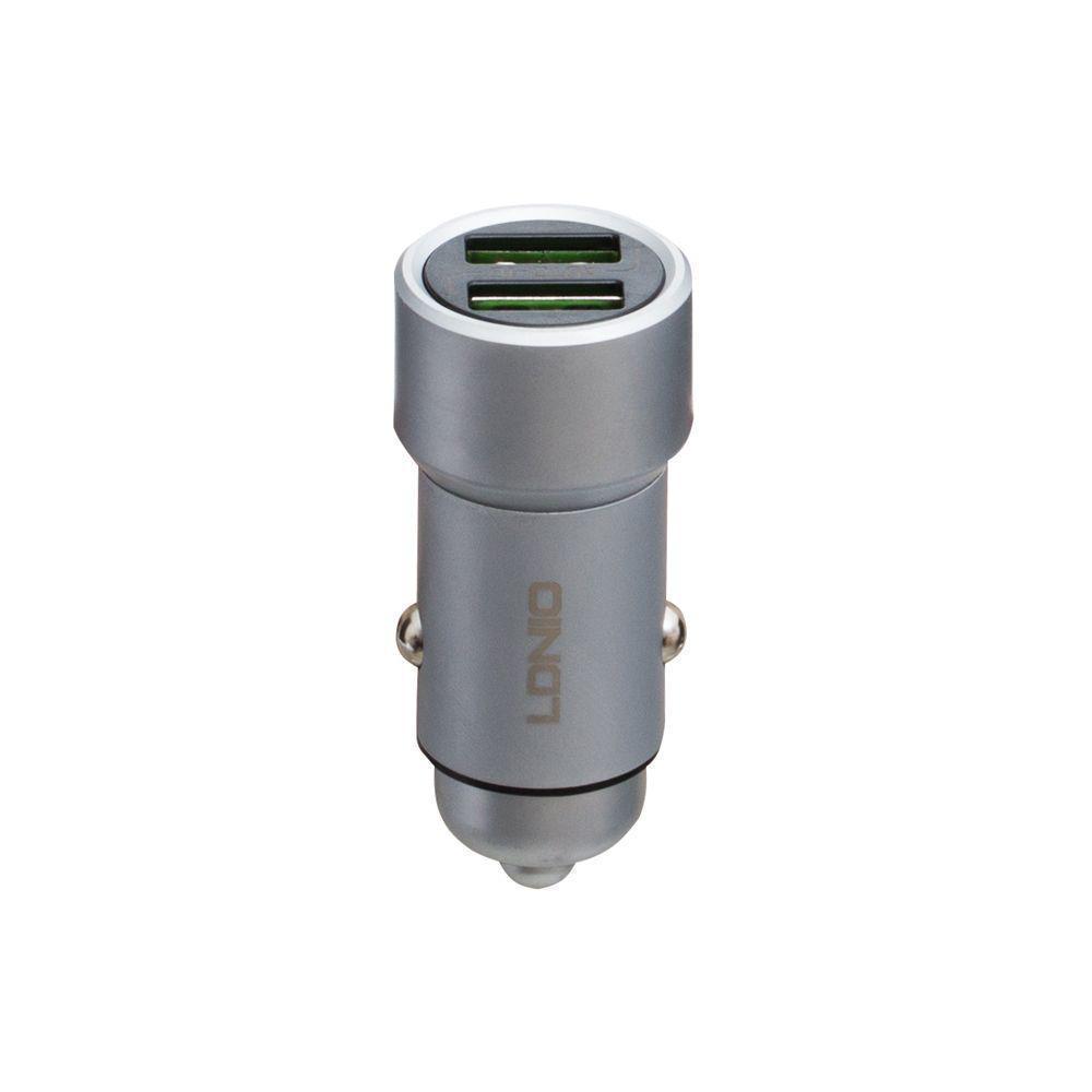 Автомобильное зарядное LDNIO DL-C302 3.6A 2 USB с кабелем Type C Стальной