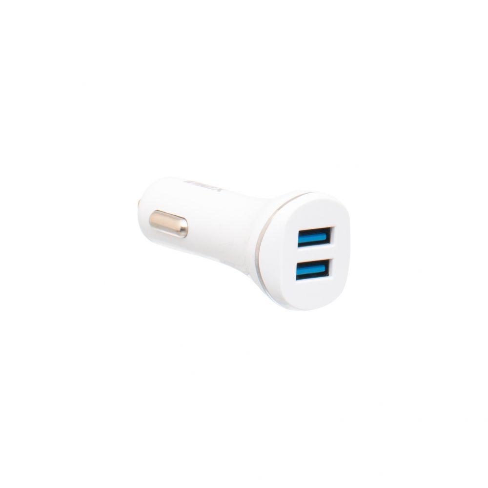 Автомобильное зарядное Inkax CC-12 2.1A 2 USB с кабелем Micro USB Белый