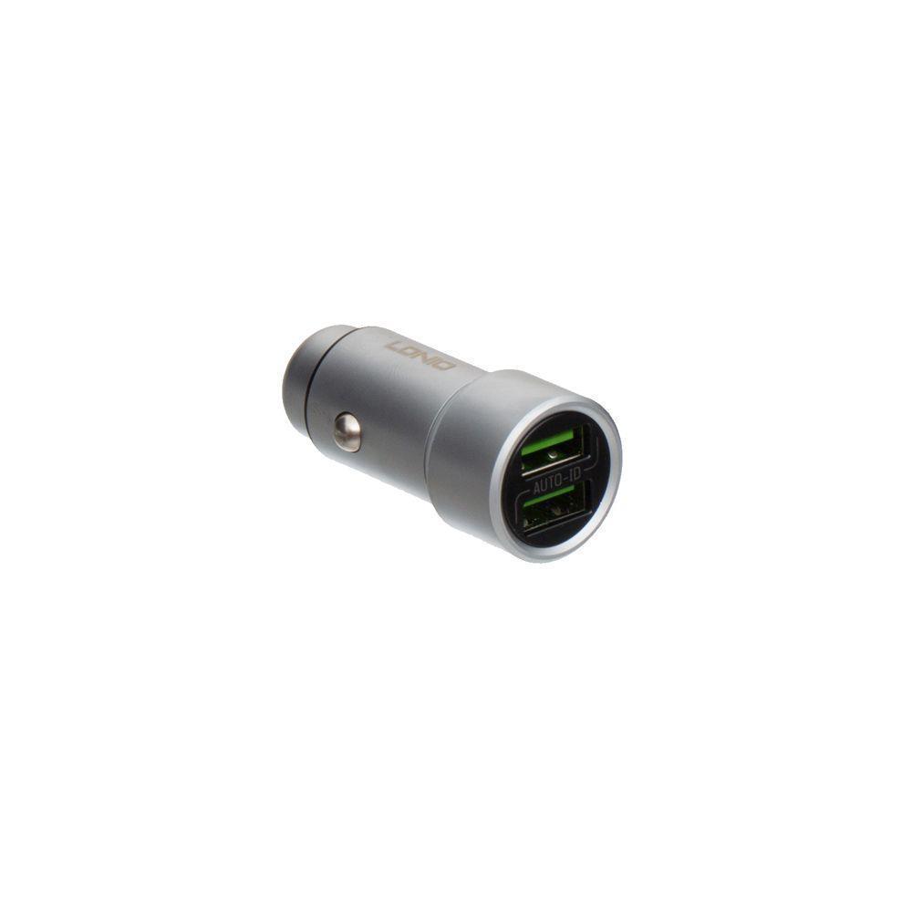 Автомобильное зарядное LDNIO DL-C302 2 USB 3.6A с кабелем Micro USB Серый