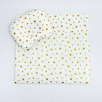 """Летний комплект в коляску BabySoon """"Золотые звёзды"""" одеяло 65 х 75 см подушка 22 х 26 см цвет розовый, фото 1"""