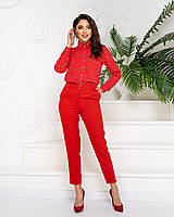 Костюм женский стильный (брюки+блуза в тон), арт 600+601, цвет красный