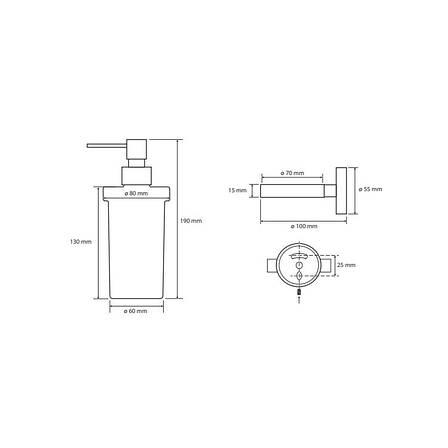 Дозатор для рідкого мила скляний Bemeta Dark (104109010), фото 2