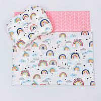"Летний комплект в коляску BabySoon ""Радуги"" одеяло 65 х 75 см подушка 22 х 26 см цвет розовый, фото 1"