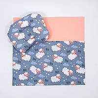"Летний комплект в коляску ""Звёздные барашки"" одеяло 65 х 75 см подушка 22 х 26 см цвет серый, фото 1"