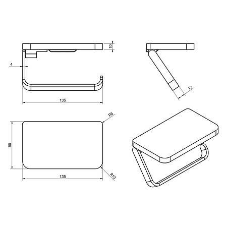 Тримач паперу-поличка, кріплення до стіни, хром, VOLLE TEO 15-88-445, фото 2