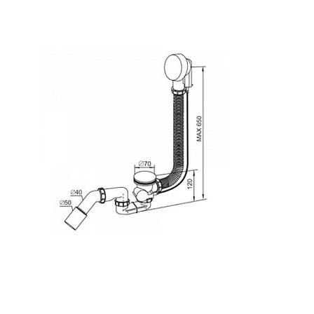 Сифон для ванни, гофра переливу 65 см, для ванн d52мм, зливний відведення 40 / 50мм, Prevex AB A305M50-01, фото 2