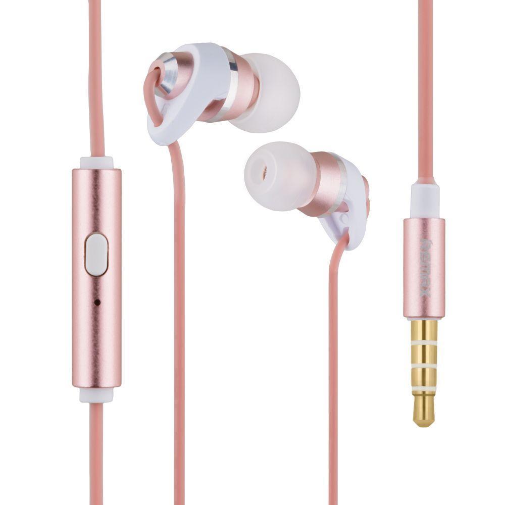 Вакуумні навушники Remax RM-585 гарнітура для телефону Рожевий