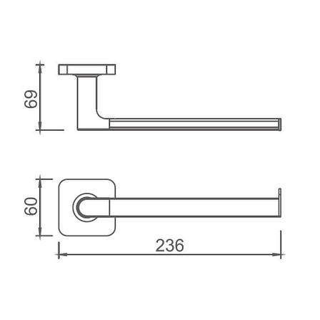 Тримач DEVIT 6750110 LAGUNA Single Towel bar, chrome, фото 2