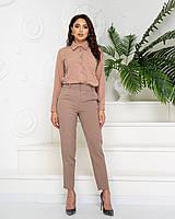 Костюм женский стильный (брюки+блуза в тон), арт 600+601, цвет кофе